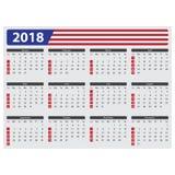 Os EUA calendar 2018, feriados oficiais Imagens de Stock Royalty Free