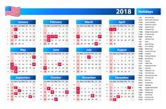 Os EUA calendar 2018 - os feriados oficiais e os dias detrabalho, semana começam em domingo Foto de Stock Royalty Free