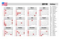 Os EUA calendar 2018 - os feriados oficiais e os dias detrabalho, semana começam em domingo Imagem de Stock Royalty Free