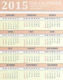 Os EUA Calendar para 2015 Imagens de Stock Royalty Free