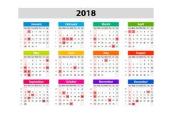 Os EUA Calendar para 2018 Planificador, agenda ou molde do diário Começos da semana em domingo Fotografia de Stock Royalty Free