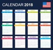 Os EUA Calendar para 2018 Planificador, agenda ou molde do diário Começos da semana em domingo Imagens de Stock