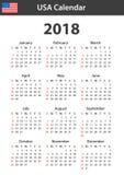 Os EUA Calendar para 2018 Planificador, agenda ou molde do diário Começos da semana em domingo ilustração do vetor