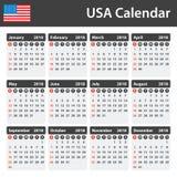 Os EUA Calendar para 2018 Planificador, agenda ou molde do diário Começos da semana em domingo Foto de Stock