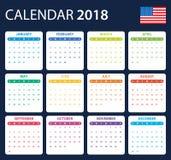 Os EUA Calendar para 2018 Planificador, agenda ou molde do diário Começos da semana em domingo ilustração stock