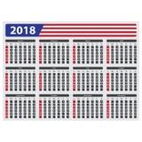 Os EUA calendar 2018 - sem feriados oficiais Foto de Stock Royalty Free