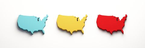 Os EUA colorem mapas do Estados Unidos 3d rendem a ilustra??o ilustração stock