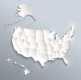Os EUA com Alaska e Havaí traçam o papel branco azul 3D do cartão Imagem de Stock