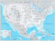 Os EUA detalharam o mapa físico Fotografia de Stock Royalty Free