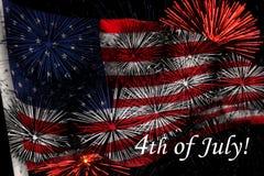 Os EUA embandeiram com fogos-de-artifício Imagens de Stock Royalty Free