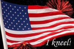 Os EUA embandeiram com fogos-de-artifício Imagem de Stock Royalty Free