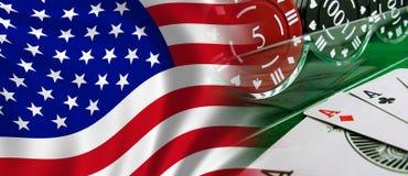 Os EUA embandeiram e jogando ilustração stock