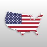 Os EUA embandeiram em uma forma da silhueta do mapa dos E.U. Símbolo do Estados Unidos da América Ilustração do vetor EPS10 com s ilustração royalty free