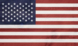 Os EUA embandeiram nas placas de madeira com pregos Fotografia de Stock