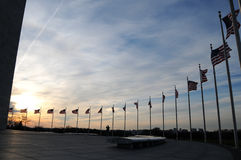 Os EUA embandeiram no monumento de Washington Fotografia de Stock