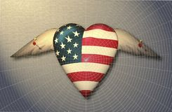 Os EUA embandeiram o coração voado fixado à superfície ilustração stock