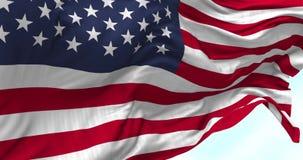Os EUA embandeiram o sopro no vento ilustração royalty free