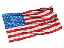 Os EUA embandeiram a ondulação no vento. Fotos de Stock