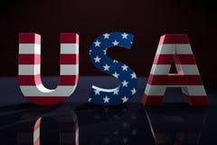 Os EUA exprimem com a estrela de bandeira americana e teste padrão sobrepor da listra ilustração royalty free