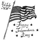 Os EUA que acenam a bandeira, símbolo americano, adiante de julho, esboço tirado mão, text o Dia da Independência feliz, ilustraç Imagem de Stock
