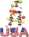Os EUA que cheering o pelotão Foto de Stock Royalty Free