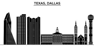 Os EUA, skyline da cidade do vetor da arquitetura de Texas Dallas, arquitetura da cidade do curso com marcos, construções, isolar ilustração stock