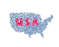 Os EUA traçam com EUA text, teste padrão poligonal Imagens de Stock Royalty Free