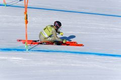 Os EUA Travis Ganong participam na corrida em declive do Menpara a raça em declive do Mendo FIS Ski World Cup Finals alpino fotografia de stock