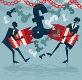 Os executivos abstratos obtêm a uma surpresa o bônus de Natal BRITÂNICO Fotografia de Stock Royalty Free