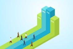 Os executivos agrupam a barra financeira ereta que cresce acima empresários Team Success Concept Growth Chart Imagem de Stock