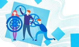 Os executivos agrupam com roda Team Brainstorming Process da roda denteada ilustração stock