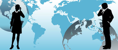 Os executivos globais comunicam-se através do mundo Fotos de Stock