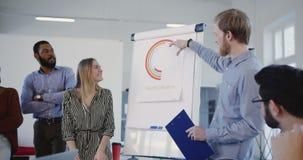 Os executivos multi-étnicos escutam vendas felizes novas treinam a explicação do diagrama, seminário de treinamento principal da  video estoque