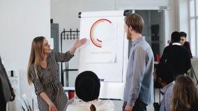 Os executivos profissionais felizes novos, homem e mulher, discutem o diagrama do flipchart no semin?rio da reuni?o da equipe do  video estoque