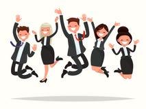 Os executivos que comemoram uma vitória saltam em um fundo branco Imagens de Stock Royalty Free