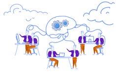 Os executivos que conceituam a rede processam os homens criativos do mecanismo da cremalheira do cérebro que geram o projeto bem  ilustração royalty free
