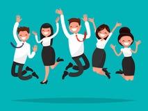 Os executivos que saltam comemorando a vitória Ilustração do vetor Fotografia de Stock Royalty Free