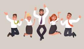 Os executivos são saltar, comemorando a realização do vict ilustração royalty free