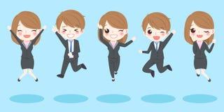 Os executivos saltam e sorriem Foto de Stock