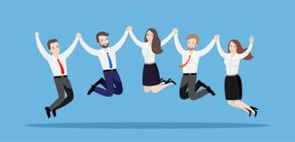 Os executivos saltam junto, guardando as m?os Ilustra??o de uma equipe de trabalhadores felizes em um fundo azul ilustração royalty free