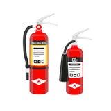 Os extintores ajustaram-se no estilo norte-americano isolado no fundo branco Ilustração do vetor Foto de Stock Royalty Free