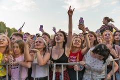 Os fãs apreciam Molly ordinário vivo Festival do fim de semana do atlas, Kiev, Ucrânia Imagens de Stock