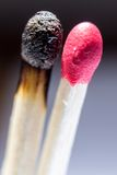 Os fósforos com um queimam-se Fotografia de Stock Royalty Free