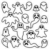 Os fantasmas assustadores projetam, os ícones dos caráteres de Dia das Bruxas ajustados Imagem de Stock