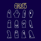 Os fantasmas engraçados de Dia das Bruxas ajustaram 5 ilustração royalty free
