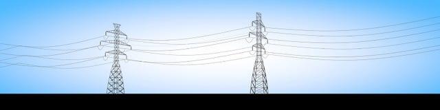 Os fardos bondes e a corrente elétrica cabografam, distribuição da eletricidade ilustração royalty free