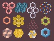 Os favos de mel geométricos dos elementos do projeto do hexágono abstraem a ilustração moderna geométrica do vetor das tecnologia Fotos de Stock