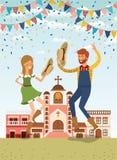 Os fazendeiros acoplam a comemoração com festões e arquitetura da cidade ilustração stock