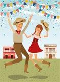 Os fazendeiros acoplam a comemoração com festões e arquitetura da cidade ilustração royalty free