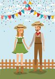 Os fazendeiros acoplam a comemoração com festões e cerca ilustração do vetor